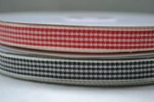 "15mm (5/8"") FINE CHEQUES GINGHAM  cotton ribbon 3 mtrs"